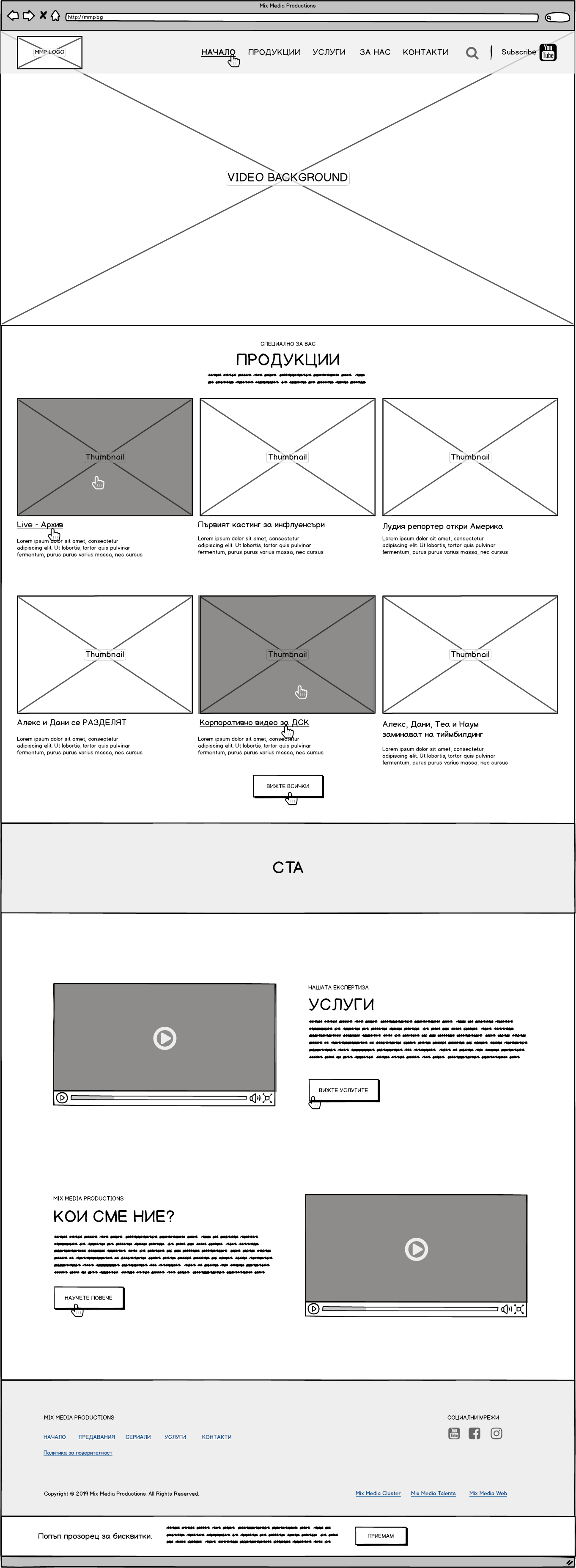 Mix Media Productions wireframe