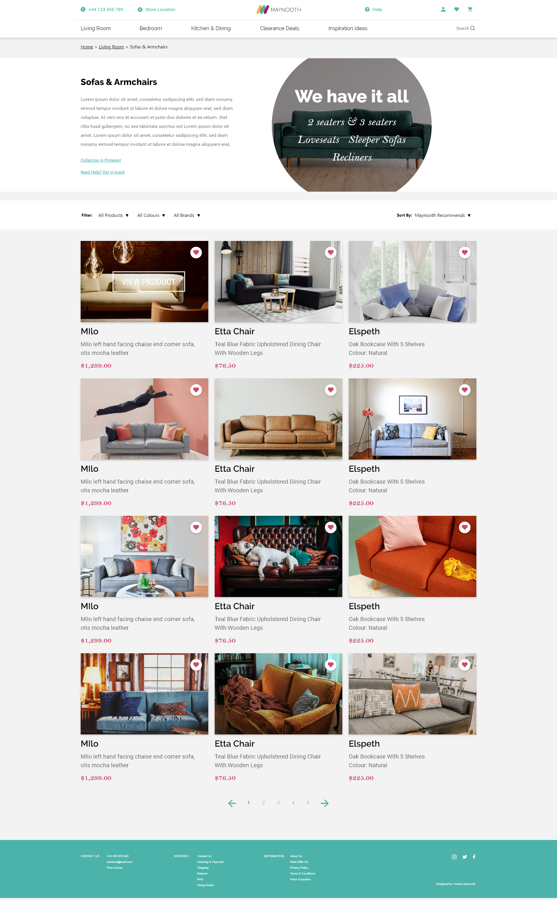 ui design subcategory page maynooth