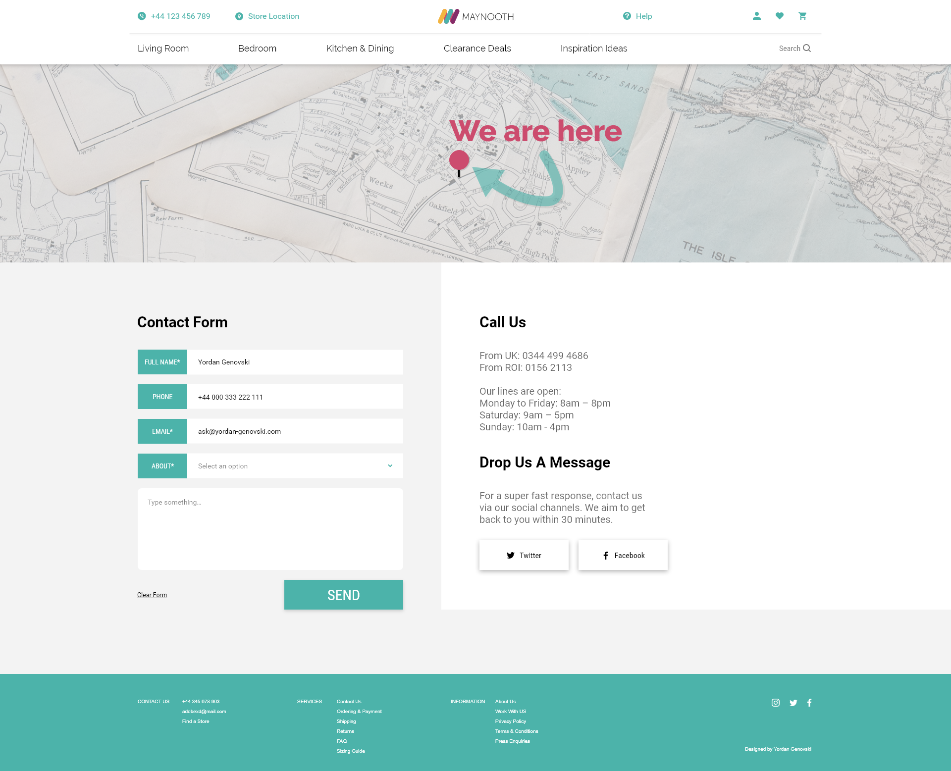ui design contact page maynooth